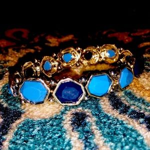 💙 Elastic Beaded Blue & Gold Bracelet